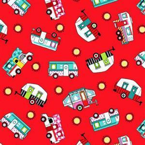 Roamin Holiday in Red Caravan Fabric 0.5m
