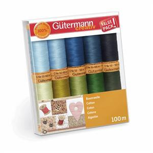 Gutermann Natural Cotton C No.50 Thread Set Assorted Colours  Pack 5 10 x 100m