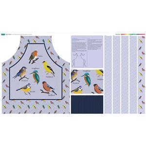 Lilac Birds Apron with Instructios Fabric Panel (140 x 88cm)