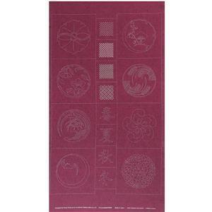 Sashiko Tsumugi Preprinted Kamon 20 Deep Red Fabric Panel 108x61cm