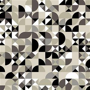 Libs Elliot Stealth Shapes on Beige Fabric 0.5m