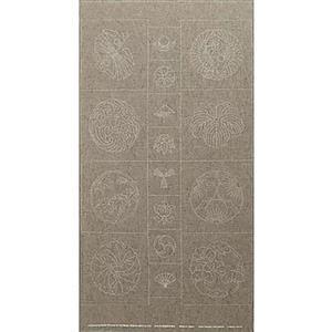 Sashiko Tsumugi Preprinted Kamon 19 Grey Fabric Panel 108x61cm