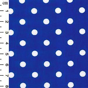 Royal Blue Polka Dots on Cotton Poplin Fabric 0.5m