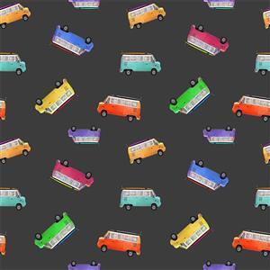 Retro Campers in Floating Caravans on Black Fabric 0.5m