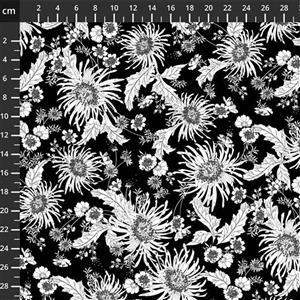 Bloom White On Black Extra Wide Backing Fabric 0.5m (280cm Width)