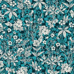Teal Blue Autumn Bloom Fabric 0.5m
