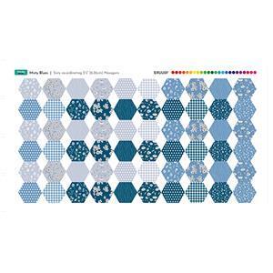 Misty Blue Fabric Hexies Panel: 70 x 41cm