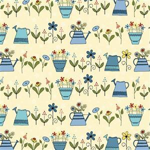 Henry Glass Backyard Happenings in Cream Watering Can Fabric 0.5m