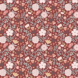 Poppie Cotton Goose Creek Gardens Wildflowers On Red Fabric 0.5m