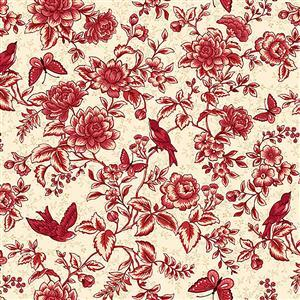 Henry Glass Tarrytown Tonal Floral Toile on Cream Fabric 0.5m