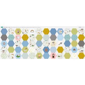Nursery Rhyme Large Hexies Fabric Panel (140 x 60cm)