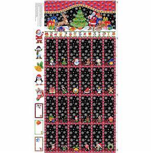 Christmas Black Advent Calendar Fold and Stitch Panel  0.6m
