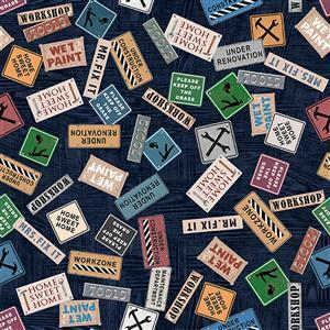 Dan Morris A Little Handy Renovation Signs Workshop Blue Fabric 0.5m