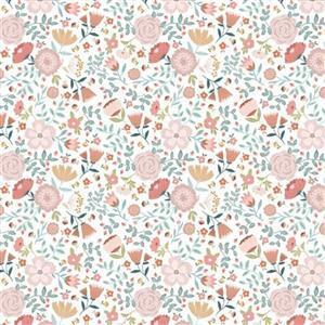 Poppie Cotton Goose Creek Gardens Wildflowers On White Fabric 0.5m