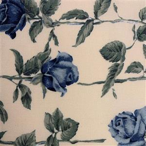 Country Floral Blue Rose on Cream Fabric 0.5m Exclusive