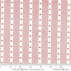 Moda Mackinac Island Cream Red Striped Star Fabric 0.5m