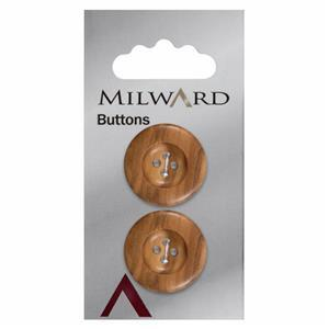 Wooden Milward Carded Button 25mm Pack of 2