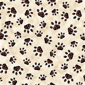 Literary Kitties Kitten Paw Prints on Cream Fabric 0.5m