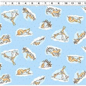 Guess How Much I Love You Swinging Bunnies Spotted  Blue Fabric 0.5m