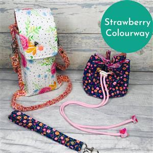 Living in Loveliness Fabulously Fast Fat Quarter Fun Issue 13 Sew Out and About; 4 x Riley Blake FQs Strawberry