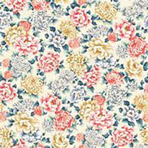 Niwa in Multi Rose on Cream Fabric 0.5m