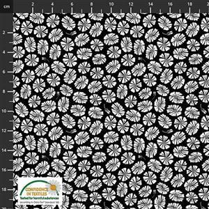 Medinilla Monkey Flower Head Black Fabric 0.5m