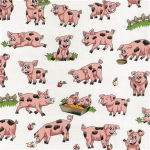 Farm Fun Pigs Fabric 0.5m
