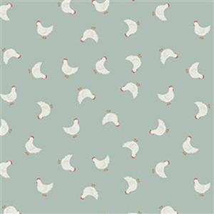 Lewis & Irene Country Life Reloved Green Tossed Chickens Fabric 0.5m