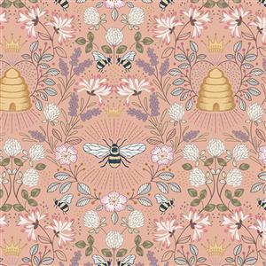 Lewis & Irene Queen Bee Beehive Scenes On Blush Fabric 0.5m