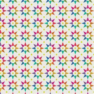 Alison Glass Art Theory Beige Multi Star Fabric 0.5m
