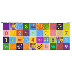 Animal Counting 40 Squares Fabric Panel (140 x 50cm)
