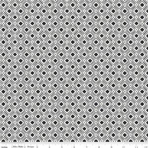 Riley Blake Tea With Bea Charcoal Square Spotted Fabric 0.5m