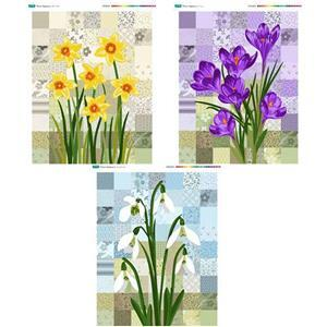 Flower Applique Three Fabric Panel Bundle. Save £8.98
