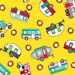 Roamin Holiday in Yellow Caravan Fabric 0.5m