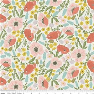 Riley Blake Tea With Bea Off White Floral Fabric 0.5m