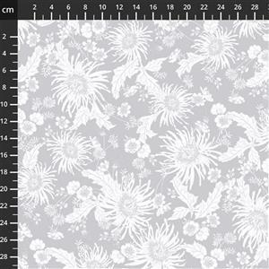 Bloom White On Grey Extra Wide Backing Fabric 0.5m (280cm Width)