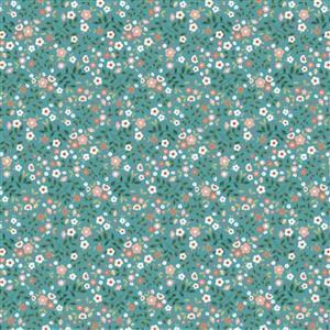 Poppie Cotton Goose Creek Gardens Mix On Teal Fabric 0.5m
