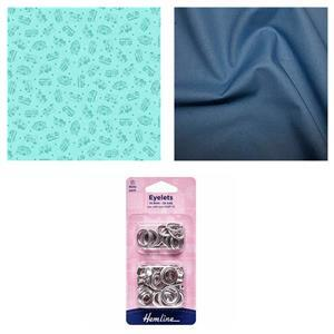 Light Blue Holiday All Decked Out Bag Fabric Bundle (1.5m)