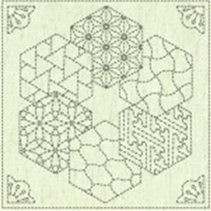 Sashiko Hexi Fabric Panel 30 cm x 30 cm (12
