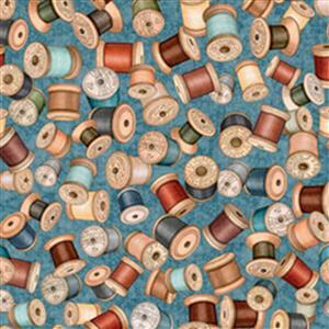 Dan Morris Sew Lovely Spools On Blue Fabric 0.5m
