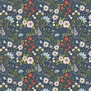 Poppie Cotton Farmgirls Unite On Blue Fabric 0.5m
