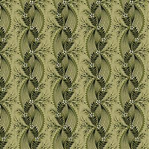 Henry Glass Tarrytown Twisted Ribbon on Olive Fabric 0.5m