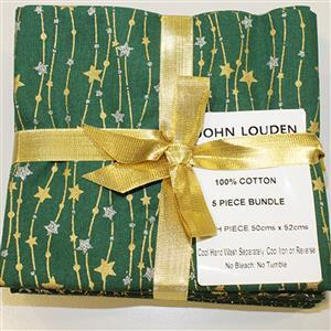 Green & Gold Christmas Fat Quarter Pack of 5