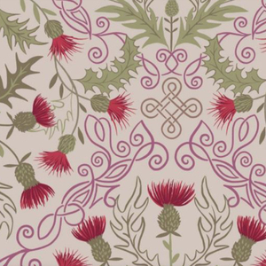 Lewis & Irene Loch Lewis Red Thistles On Natural Fabric 0.5m