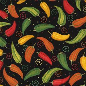 Moda Homegrown Salsa in Black Chilli Pepper Fabric 0.5m