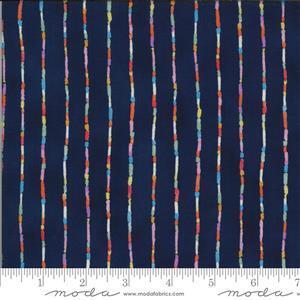 Moda Lulu in Midnight Blue Multi Stripe Fabric 0.5m