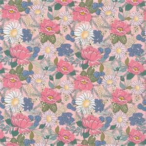 Country Roads Pink & Blue Flowers on Yellow Fabric 0.5m