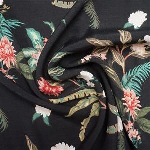 Dame Fleur Black Viscose Fabric 0.5m