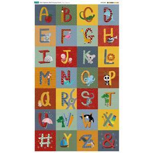 Multi Illustrated Alphabet Fabric Panel (140 x 117cm)