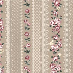 Emily in Beige Rose Stripe on Beige Fabric 0.5m